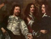 DOBSON, William The Painter with Sir Charles Cottrell and Sir Balthasar Gerbier about oil painting